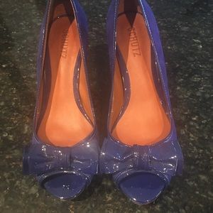 Schutz royal blue suede heels